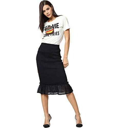 ONLY Women Cream-Coloured Printed Embellished Round Neck T-shirt