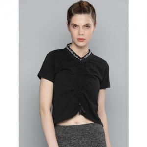 HRX by Hrithik Roshan Women Black Embroidered Round Neck T-shirt