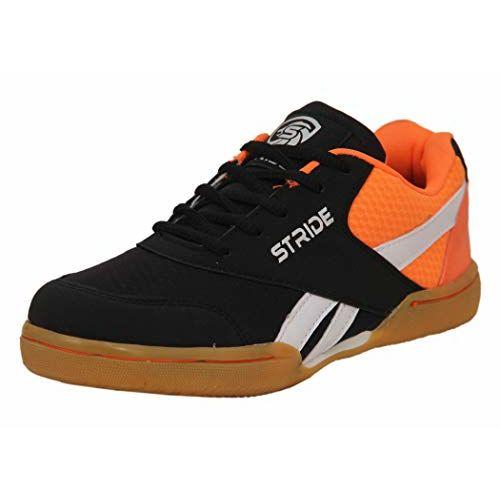 Stride Black and Orange Boy's Badminton Shoes