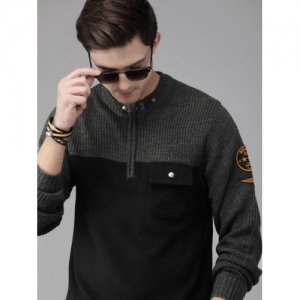 Roadster Men Black & Grey Acrylic Colourblocked Pullover Sweater With Applique Detailing