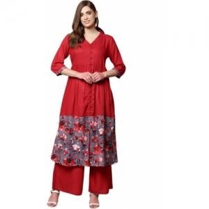 Libas red cotton rayon blend Floral Print A-line Kurta