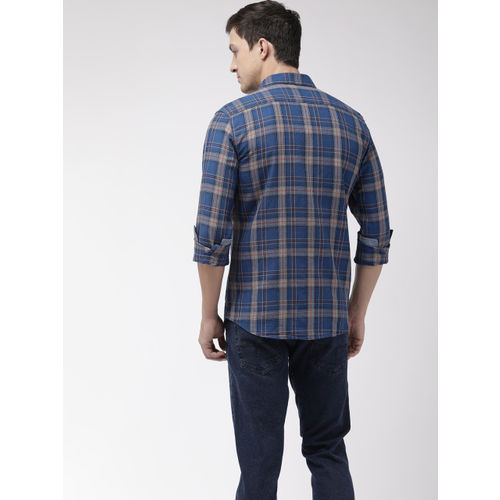 Flying Machine Men Blue & Grey Slim Fit Checked Casual Shirt