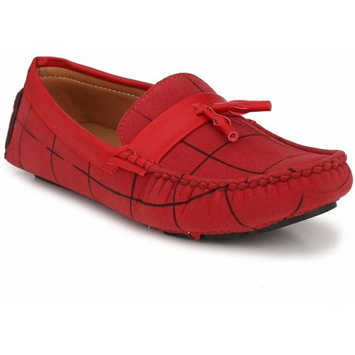 BIG FOX Driving Suede Check Loafers For Men(Red)