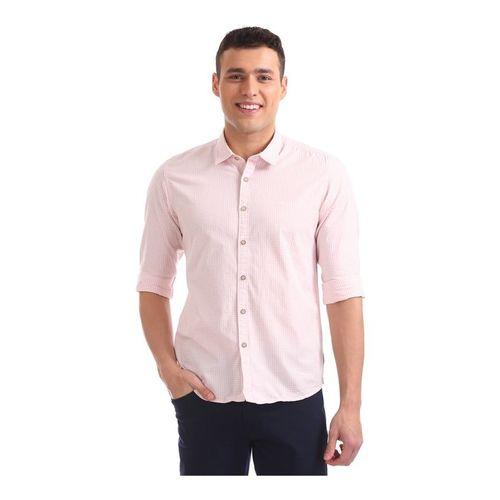 Flying Machine Pink Cotton Regular Fit Checks Shirt