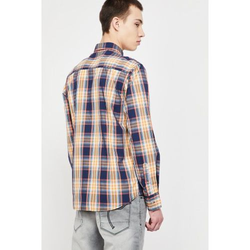 FLYING MACHINE Checked Button-Down Collar Slim Fit Shirt