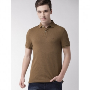 Tommy Hilfiger Brown cotton Solid Polo T-shirt