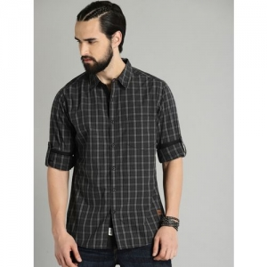 Roadster Men Checkered Casual Black Shirt