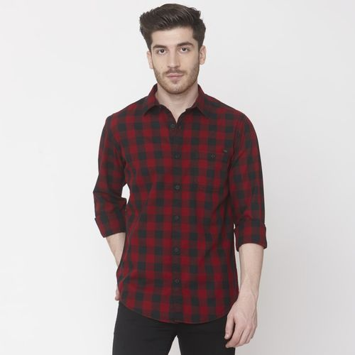 Mufti Men Checkered Casual Red Shirt