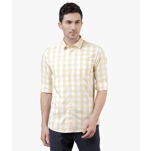 Highlander Men Checkered Casual White, Yellow Shirt