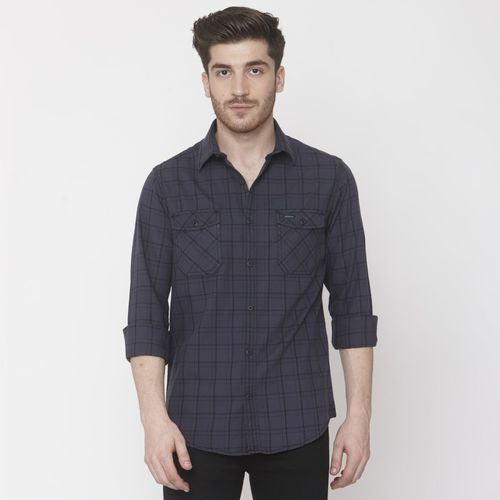 Mufti Men Checkered Casual Grey Shirt