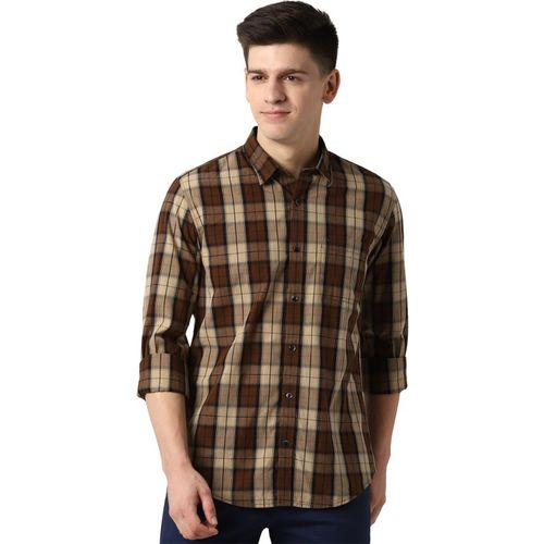 Peter England Men Checkered Casual Brown Shirt