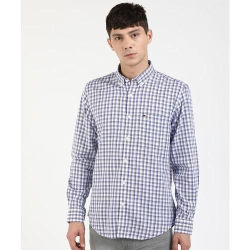 Peter England Men Checkered Casual White, Blue Shirt