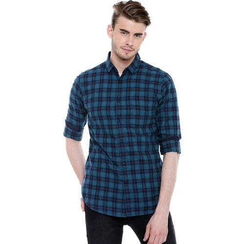 Dennis Lingo Men Checkered Casual Blue Shirt
