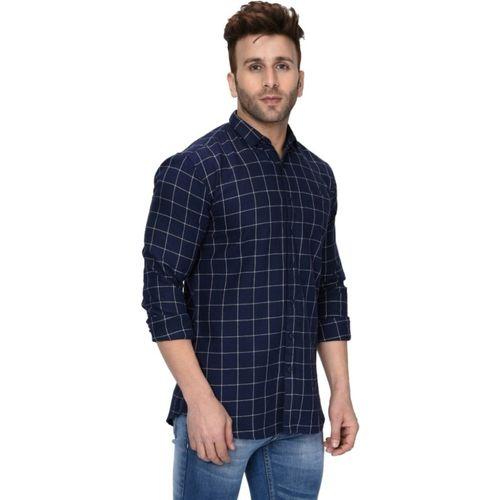 70MM Men Checkered Casual Blue, White Shirt