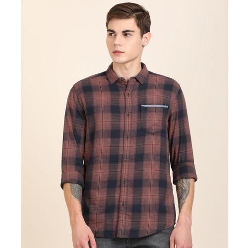 Wrangler 20X Men Checkered Casual Dark Blue Shirt