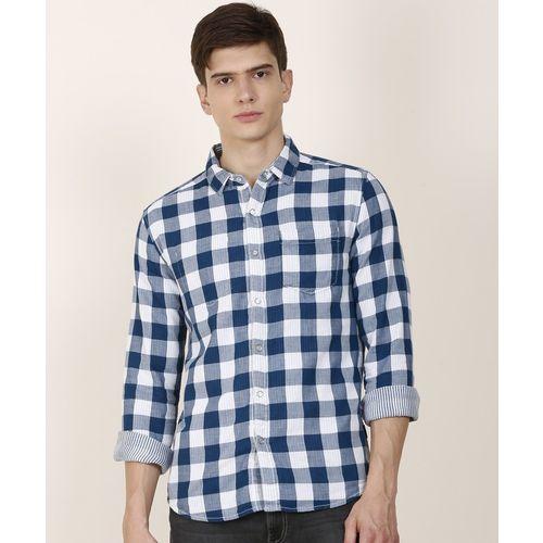 Wrangler Men Checkered Casual White, Blue Shirt