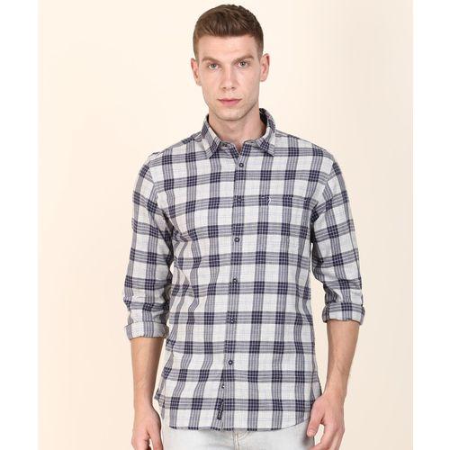 Indian Terrain Men Checkered Casual Blue, Grey Shirt