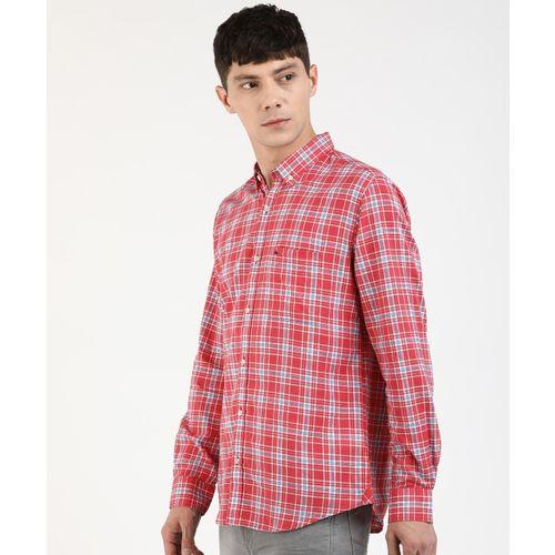 Peter England Men Checkered Casual Pink Shirt