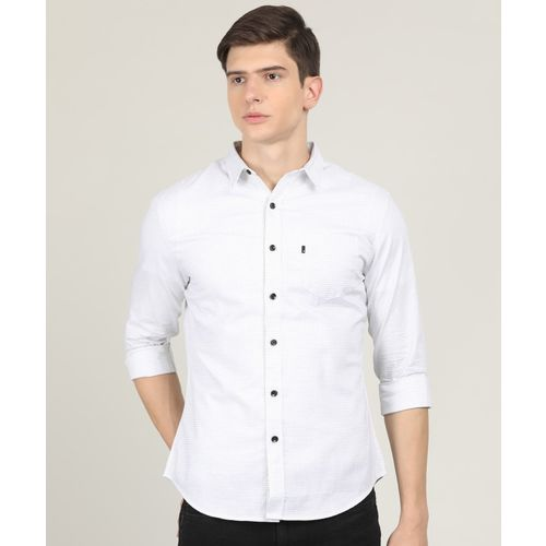 Levi's Men Checkered Casual White, Grey Shirt