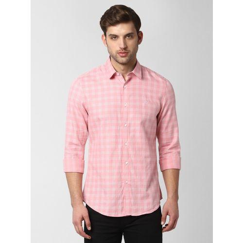 Peter England University Men Checkered Casual Pink Shirt