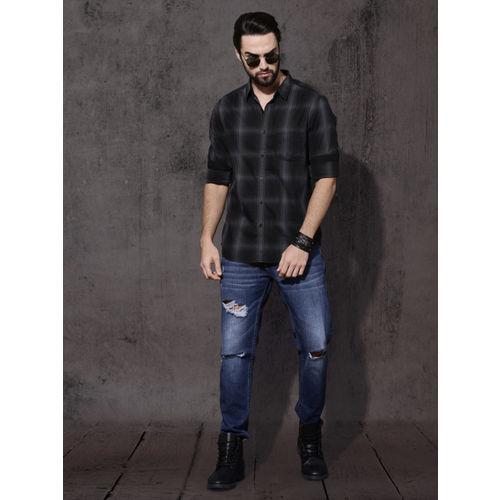 Roadster Men Black & Grey Regular Fit Shadow Check Casual Shirt