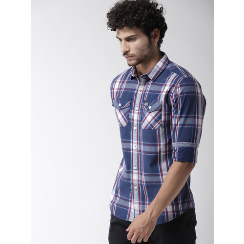 Superdry Men Navy Blue & Grey Regular Fit Checked Casual Shirt