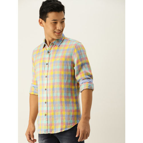 United Colors of Benetton Men Multicoloured Slim Fit Checked Linen Casual Shirt
