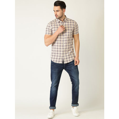 United Colors of Benetton Men Beige & Maroon Slim Fit Checked Casual Shirt