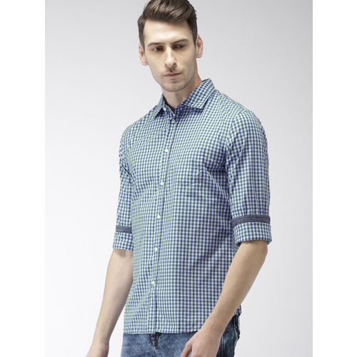 Celio Men Violet & Green Slim Fit Checked Casual Shirt