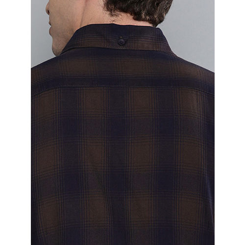 The Humbl Co. Men Navy Blue & Brown Slim Fit Checked Casual Shirt