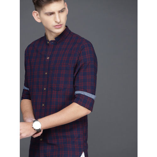 WROGN Men Navy & Maroon Slim Fit Checked Casual Shirt