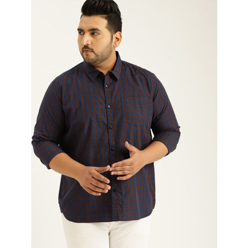 Sztori Men Navy Blue & Brown Regular Fit Checked Casual Shirt