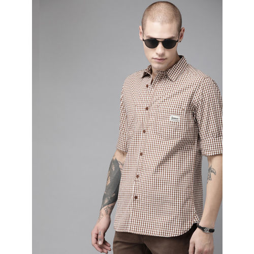 Roadster Men Brown & White Regular Fit Checked Casual Shirt