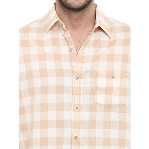 Mufti Men Beige Slim Fit Checked Casual Shirt