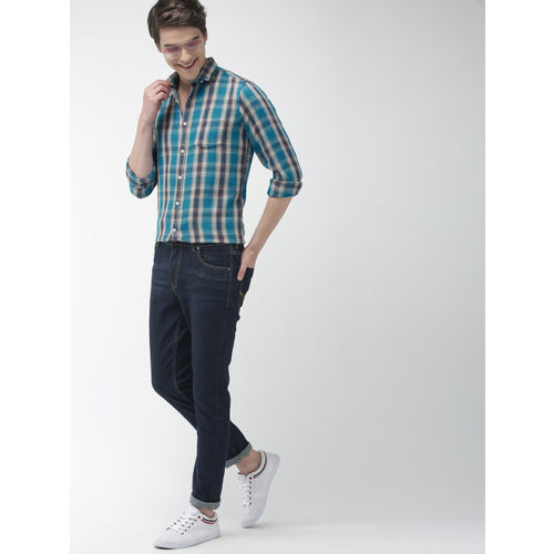 Mast & Harbour Men Blue & Beige Slim Fit Checked Casual Shirt