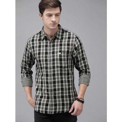 Roadster Men Black & Grey Regular Fit Checked Casual Reversible Shirt