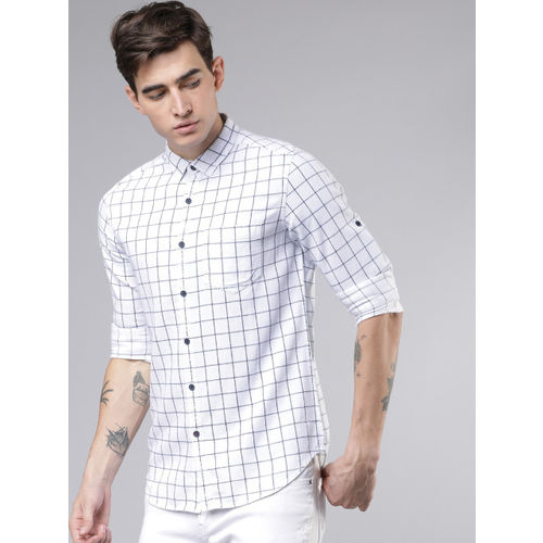 LOCOMOTIVE Men White & Navy Blue Slim Fit Yarn Dyed Checked Casual Shirt