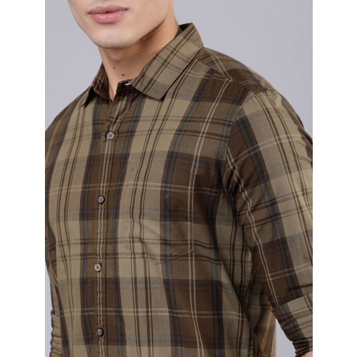 HIGHLANDER Men Khaki & Brown Slim Fit Checked Casual Shirt