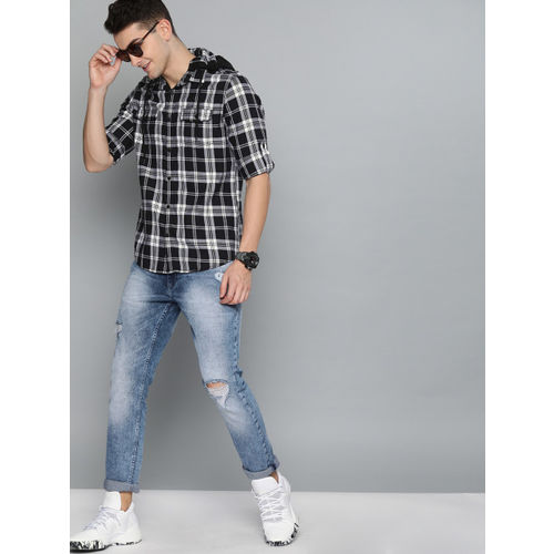 HERE&NOW Men Black & White Slim Fit Checked Casual Hooded Shirt