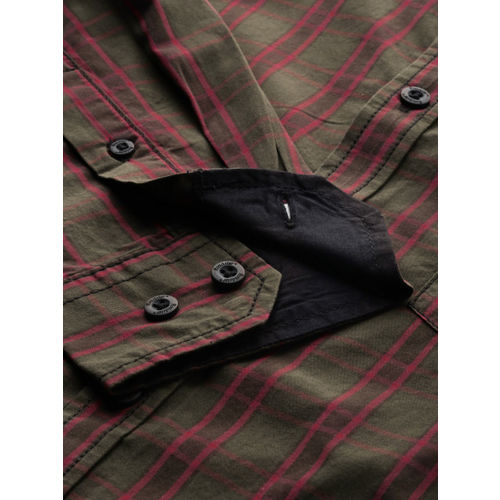 Roadster Men Olive Green & Red Checked Casual Shirt