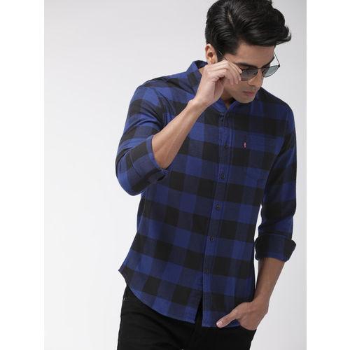 Levis Men Blue & Black Slim Fit Checked Casual Shirt