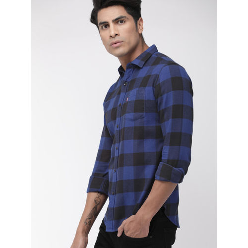 Levis Men Blue & Black Slim Fit Checked Casual Shirt