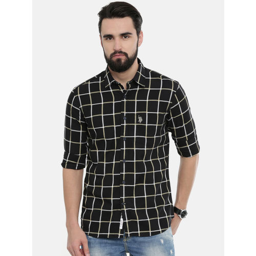 U.S. Polo Assn. Men Black & White Tailored Fit Checked Casual Shirt
