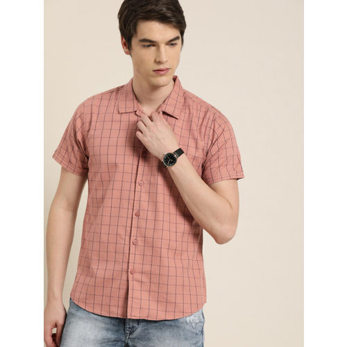Moda Rapido Men Pink & Navy Blue Slim Fit Checked Casual Shirt