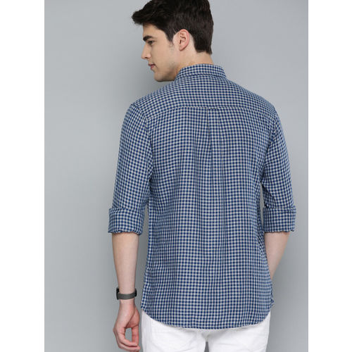 The Humbl Co. Men Blue & Grey Comfort Fit Checked Casual Shirt