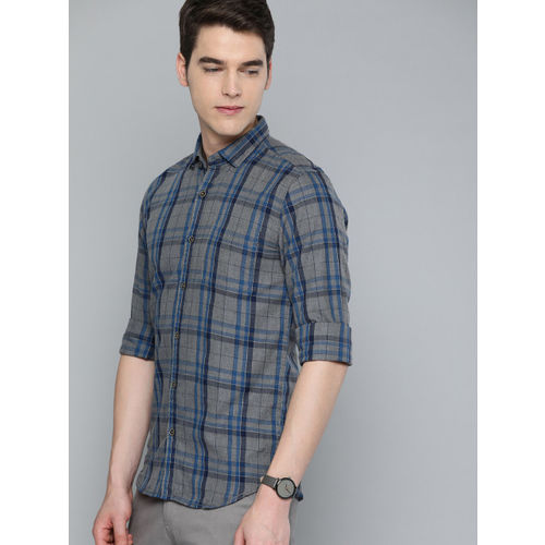 The Humbl Co. Men Grey & Blue Slim Fit Checked Casual Shirt