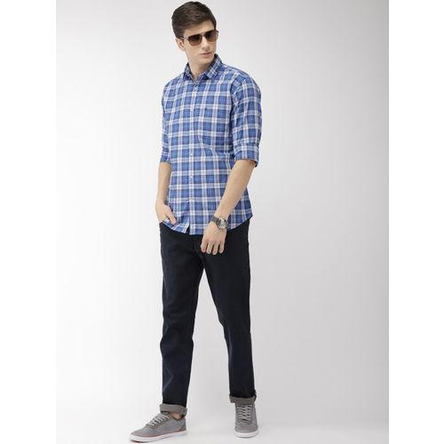 Raymond Men Blue & Grey Slim Fit Checked Casual Shirt
