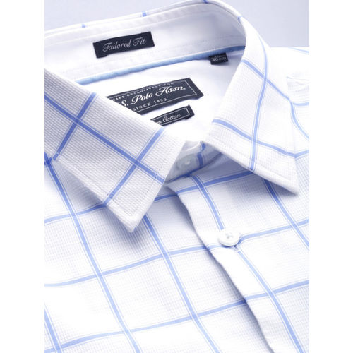 U.S. Polo Assn. Tailored Men White & Blue Tailored Fit Checked Smart Casual Shirt