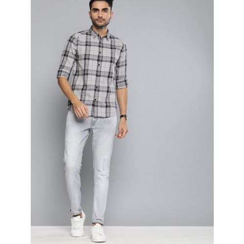 The Humbl Co. Men Grey & Navy Blue Slim Fit Checked Casual Shirt