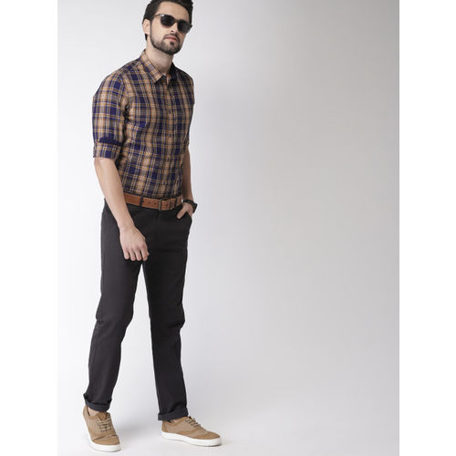 Indian Terrain Men Blue & Brown Chiseled Slim Fit Checked Casual Shirt